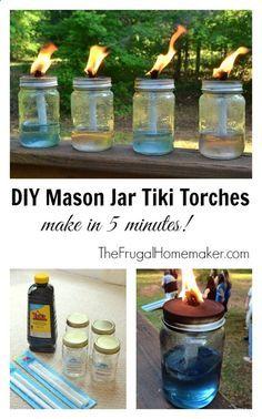 DIY Mason Jar Tiki Torches