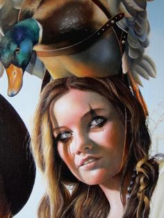 """brown - woman with duck - """"Wheel of freedom"""" - figurative painting - Hélène Terlien"""
