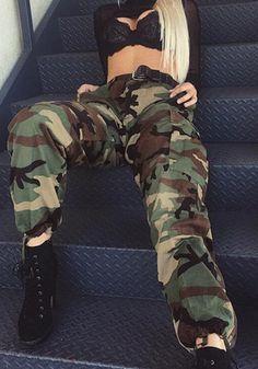 Army Green Camouflage Pockets Drawstring Zipper High Waist fatigue Pants