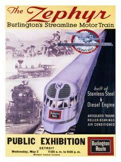 zephyr-railway-train-poster-1940s by nostalgicphotosandprints,