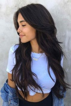 Pure Color Tape in Hair Brazilian Hair Body Wave Seamless Off Black - Long Hairstyles Easy Hairstyles For Long Hair, Long Hair Cuts, Cool Hairstyles, Layers For Long Hair, Haircut Long Hair, Long Layered Hair With Side Bangs, Hairstyles 2016, Long Layerd Hair, Long Hairstyles With Layers