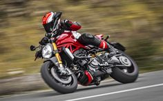 Download wallpapers Ducati Monster 1200 S, rider, 2017 bikes, movement, italian motorcycles, Ducati
