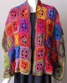 Mini Mochi Flower Garden Crochet Shawl - granny square motif - Crystal Palace Yarns