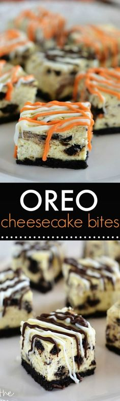 Little cheesecake bites filled with OREO cookie pieces!