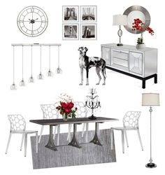 """Gray and White Diningroom"" by silverlime2013 on Polyvore featuring interior, interiors, interior design, home, home decor, interior decorating, Jamie Young, Eichholtz, Calvin Klein and Somette"