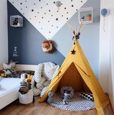 kleinkind zimmer Boy's Room inspiration featuring Nevada Teepee from Nobodinoz, Luggy from Olli Ella and Lion Trophy from Wild and Soft