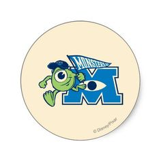 Mike with Monsters U Flag Sticker
