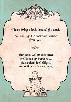 vintage bring a book instead of a card Baby shower  insert printable custom
