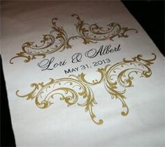 Custom aisle runner with Victorian Gold Ornament, names & wedding date