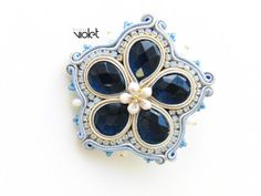 Soutache brooch Blue Flower by Violetbijoux on Etsy                                                                                                                                                                                 More