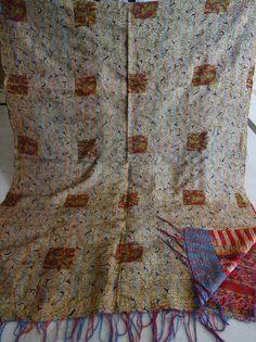 Beautiful Indian Handmade Designer Sari Silk Shawl / Scarf / Wraps Shawl 039