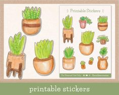 #pottedplants #stickers #succulent #aesthetic #printable