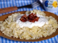 sk - Potato dumplings with sheep cheese and bacon – NajRecept. Sheep Cheese, National Dish, No Salt Recipes, Top 5, Gnocchi, Bacon, Grains, Easy Meals, Food And Drink