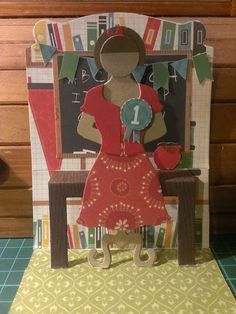 Very cool Teacher pop-up card: Stampin up dress form die and dress up framelits