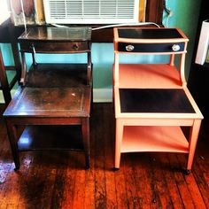 Found these end tables at Goodwill for $10. Used liquid sandpaper instead of sanding them down. Got coral paint from Lowes, and used black stencil paint for details ($15). Knobs I had laying around from another piece I re-did.