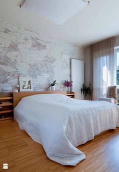 Bielone cegły - ściana - Sypialnia styl Eklektyczny - zdjęcie od LIVING BOX - Sypialnia - Styl Eklektyczny - LIVING BOX