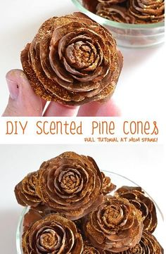 DIY Scented Pine Cones is part of Scented Pinecone crafts - Make pretty decorative pine cones in your favorite scent! Nature Crafts, Fall Crafts, Holiday Crafts, Holiday Decor, Pine Cone Art, Pine Cone Crafts, Scented Pinecones, Fir Cones, Pine Cone Decorations