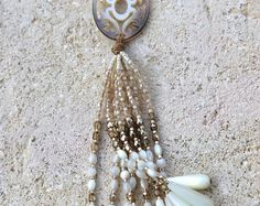 Glass beads and Pearl tassel necklace