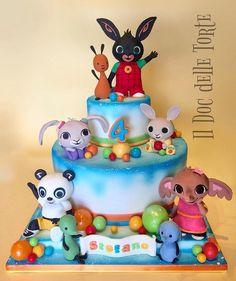 Bing cake - cake by Davide Minetti - CakesDecor Bunny Birthday Cake, Puppy Birthday Parties, 2nd Birthday Party Themes, Coelho Bing, Bing Cake, Bing Bunny, Bunny Party, Birthday Cake Decorating, First Birthdays