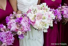 Pale pink and white for Bride along with bolder colors for the BM