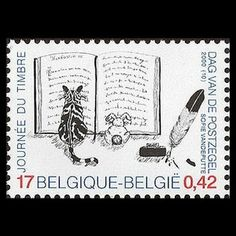 Cats in Illustration: Belgian postage stamp - 2000 Stamp World, Art Postal, Postage Stamp Art, Going Postal, Vintage Stamps, Mail Art, Stamp Collecting, My Stamp, Poster