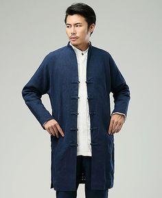 Blue Commoner Chinese Style Retro Long-Sleeved Windbreaker jacket via Asia-Sale Best Tai Chi, Kung Fu Clothing