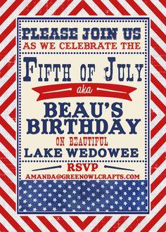 Fourth of July birthday invite