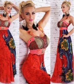 Βραδυνό μάξι φόρεμα σε μοντέρνο στυλ - κόκκινο