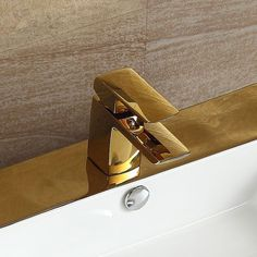 Free ship gold clour square bathroom basin vessel sink faucet mixer tap New deck mounted#new deck