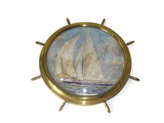 Vintage Brass Ship's Wheel Picture Frame Nautical by ChromaticWit
