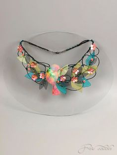 Fiber fine art floral necklace with bird and pink flowers. Floral garden jewelry for romantic bride.. $98.00, via Etsy.
