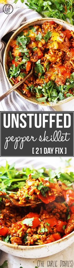 Unstuffed Pepper Skillet Day Fix] - You won't believe you are eating healthy when you take a bite of this amazing dish! Easy, quick, packed with mouth watering flavor, and gluten free! TheGarlicDi Day Fix Recipes Kid Friendly) 21 Day Fix, Clean Eating Recipes, Eating Healthy, Cooking Recipes, Healthy Recipes, Beef Recipes, Unstuffed Peppers, Get Thin, Pasta