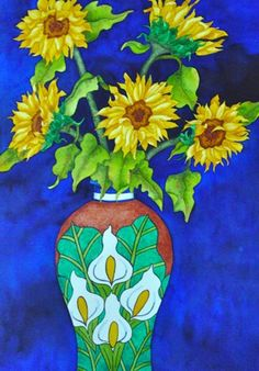 "Sunflowers in Mexican Vase 15"" x 22"" original watercolor painting 