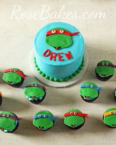 Teenage Mutant Ninja Turtles Cake and Cupcakes
