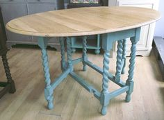 Annie Sloan Chalk Paint Green Leg Table Annie Sloan Chalk Paint Green, Paint Drop, Drop Leaf Table, Dining Table, Painting, Furniture, Home Decor, Decoration Home, Room Decor
