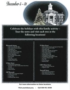 Pearisburg's Festival of Trees will be on display at 40 locations in downtown Pearisburg, VA from December 5-31, 2014. Tour the town and visit each tree.