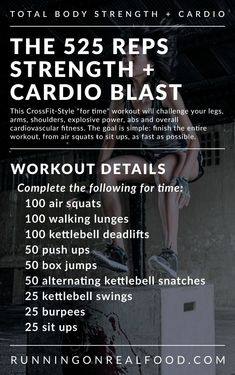 This 525 reps Total Body Strength and Cardio Workout is a A Crossfit-Style MetCon that challenges the entire body. Equipment needed: box or bench and kettlebell.