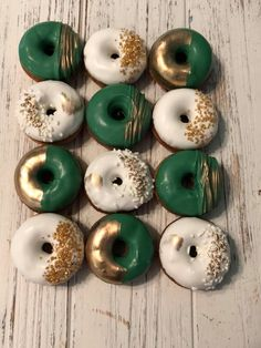 Graduation Party Decor Discover 12 Green Gold White Mini Donuts Doughnuts Wedding Baby Bridal Christmas New Years Sweets Table Candy Buffet Birthday Favors Treats Cactus Mini Donuts, Donuts Donuts, Doughnut, Donuts Beignets, Birthday Favors, Baby Birthday, Decoration Buffet, Decorations, Starbucks Birthday