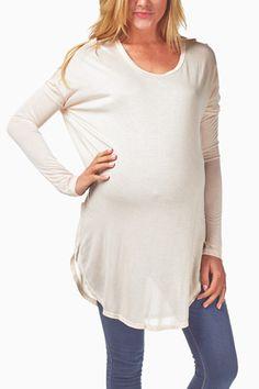Beige-Basic-Maternity-Tunic