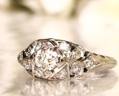 Art Deco Engagement Ring 0.63ctw Diamond by LadyRoseVintageJewel