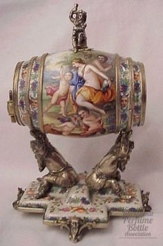 Viennese enamel and silver man's vanity table figural scent. Victorian 1850