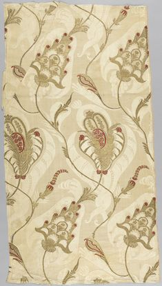 Textile (France), ca. 1700; Silk damask brocaded with silk and metallic yarns. Cooper Hewitt, Smithsonian Design Museum, NYC.