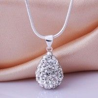 Wish | New 925 Sterling Silver SWRSK Crystal Water-Drop Necklace Pendant