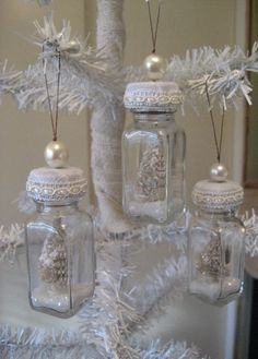 ^INSPIRATION...Shabby Chic Bottle Ornaments from old salt and pepper shakers - This is a set of four darling ornaments made from vintage bottles. Each bottle has a tiny vintage tree inside with glitter. This would make a sweet hostess gift or put it on your own shabby chic Christmas tree.