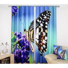 Modrý hotový záves s fialovým kvetom a motýľom