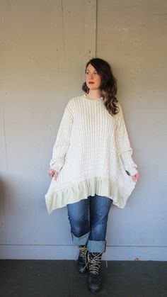 1X 2X oversize Romantic Upcycled clothing / Sweater tunic dress / Lagenlook Tunic / Funky Bohemian sweater Plus size by LillieNoraDryGoods