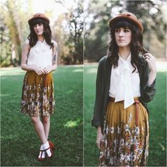Kiana McCourt - American Apparel Chiffon Cardigan, American Apparel Blouse, Darling Skirt, Vintage Hat - November