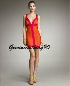 Celebrity style bodycon/bandage orange and beige dress XS/X/M/L / Geminiclothing90