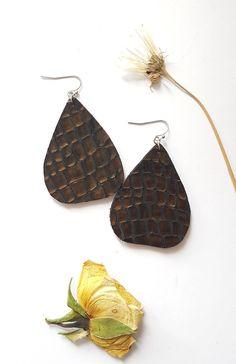 Brown Leather Earrings, Large Statement Earrings, Big Teardrop Earrings, Modern Crocodile Pattern, Funky Jewelry, Metallic Embossed Leather