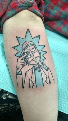 23 Rick and Morty Tattoos - The Body is a Canvas Weed Tattoo, M Tattoos, One Punch Man, Pickle Rick Tattoo, Mr Cartoon Tattoo, Ricks Tattoo, Rick And Morty Tattoo, Summer Tattoo, Cool Small Tattoos